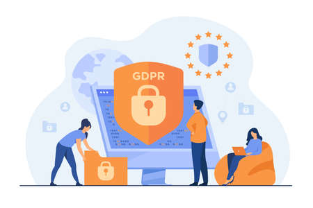 Tiny people protecting business data and legal information isolated flat vector illustration. General privacy regulation for protection of personal data. GDPR and privacy politics concept 向量圖像