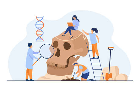 Tiny anthropologists studying Neanderthal skull flat vector illustration. Cartoon people doing DNA and Paleolithic research. Anthropology and prehistoric museum concept