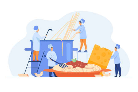 Tiny cooks making spaghetti for dinner isolated flat vector illustration. Cartoon characters boiling water for traditional pasta on restaurant kitchen. Italian cuisine and food concept Stock Illustratie