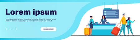 Happy travelers going through flight registration counter. Trip, baggage, luggage flat vector illustration. Travel and vacation concept for banner, website design or landing web page