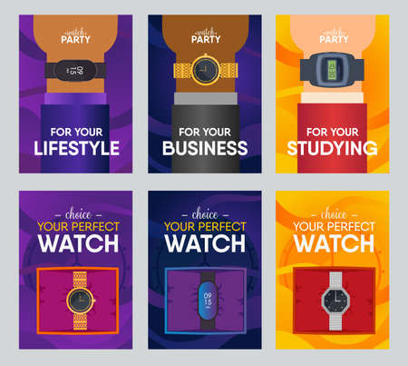 Perfect watch banner design set. Watches in boxes and on human wrist vector illustration. Collection of graphic elements with text. Template for brand promotion posters, brochures, advertising flyers