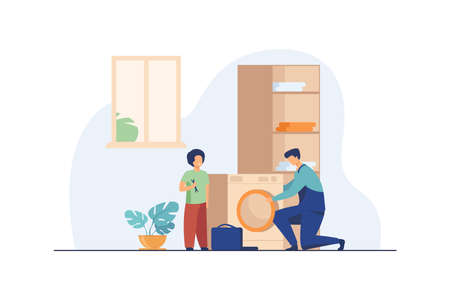 Father fixing washing machine and child helping him. Occupation, bathroom. Flat vector illustration. Repair service concept can be used for presentations, banner, website design, landing web page Illusztráció