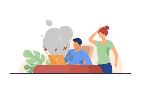 Young man having broken computer and woman shocked. Fume, defect. Flat vector illustration. Broken things concept can be used for presentations, banner, website design, landing web page Illusztráció