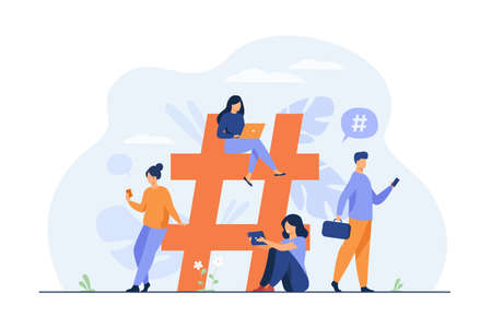 Tiny people near hashtag for social media flat vector illustration. Cartoon characters blogging and planning promotion in social network. Digital technology and communication concept  イラスト・ベクター素材