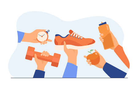 Many hands holding boot, apple, bottle with water, dumbbell flat vector illustration. Workout and training accessories for sport exercise. Wellness and healthy lifestyle concept Illusztráció