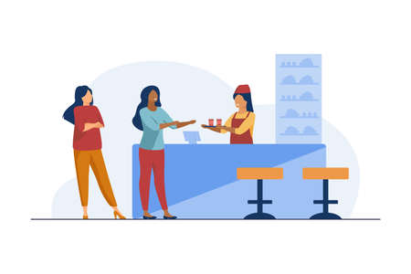 Barmaid giving dish to cafe visitor. Drink, beverage, snack. Flat vector illustration. Catering service concept can be used for presentations, banner, website design, landing web page