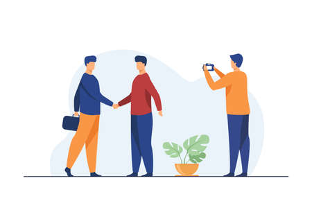 Two businessmen shaking hands and other man taking photo. Partners, agreement. Flat vector illustration. Business concept can be used for presentations, banner, website design, landing web page