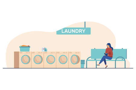 Woman reading book and waiting for her laundry. Room, washing machines. Flat vector illustration. Laundry service concept can be used for presentations, banner, website design, landing web page
