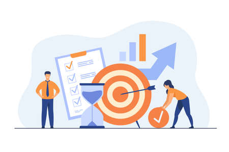 Tiny people developing self control system isolated flat vector illustration. Metaphor of target and goal achievement for productive work. Time management and development concept