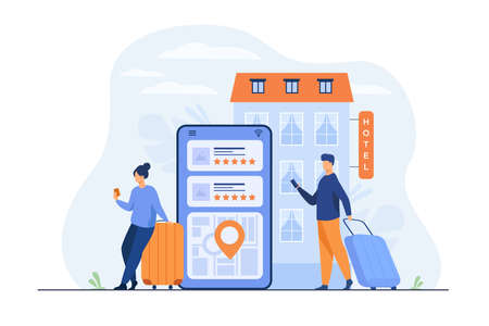 Happy tourists choosing hotel and booking room online flat vector illustration. People doing search or making choice of hostel and apartments via internet. Trip, vacation and accommodation concept