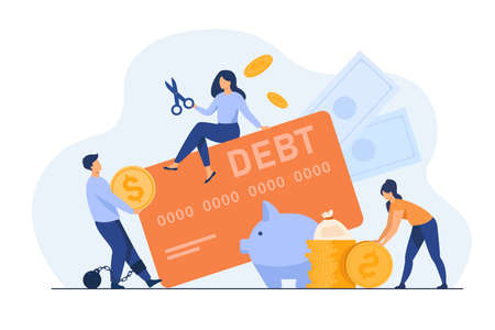 Tiny people in trap of credit card debt flat vector illustration. Cartoon characters paying money for expenses. Financial interest and infographics concept