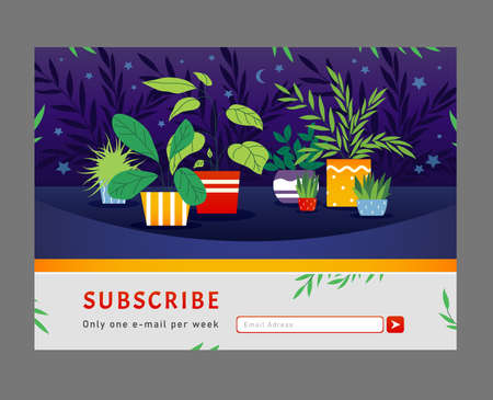 Online newsletter design. Houseplants, home plants in pots vector illustration with subscribe button and box for email address. Template for subscription letter, email marketing Illusztráció