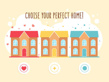 Creative promotional poster with houses vector illustration. Perfect home advertising design with text. Buildings and architecture concept. Template for leaflet, banner or flyer 向量圖像