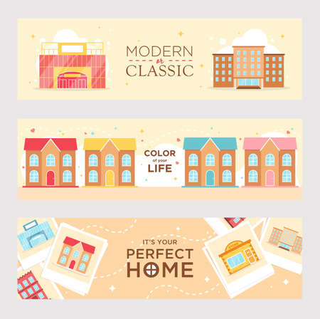 Perfect home banners vector illustration. Bright modern or classic houses and apartments for family. Buildings and architecture concept. Template for poster, promotion or design 向量圖像