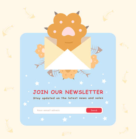 Online newsletter design. Cute cats paw with envelope vector illustration with subscribe button and box for email address. Template for subscription letter, email marketing