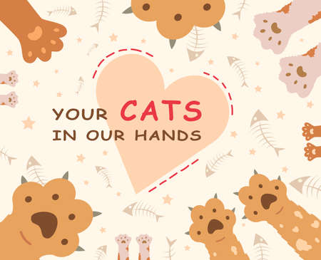 Cats shelter website background design. Cute cartoon paws and heart vector illustrations with text. Animal care and pets adoption concept for pet shop poster or cover template templates 向量圖像