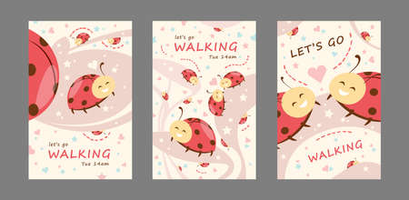 Walking invitation cards set. Friendly cute cartoon ladybirds vector illustrations with lets go walking text, time and day. Template for flyers or greeting cards Ilustración de vector
