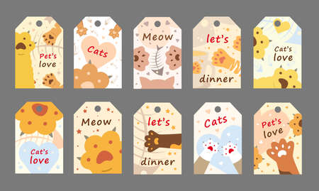 Cats love tags set. Cute cartoon paws vector illustrations with meow, pets love text. Animal care and pets concept for pet shop labels and shelter flyers templates 向量圖像