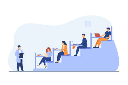 College students sitting at desks in classroom and listening to teacher. Vector illustration for higher education, university, classroom concept