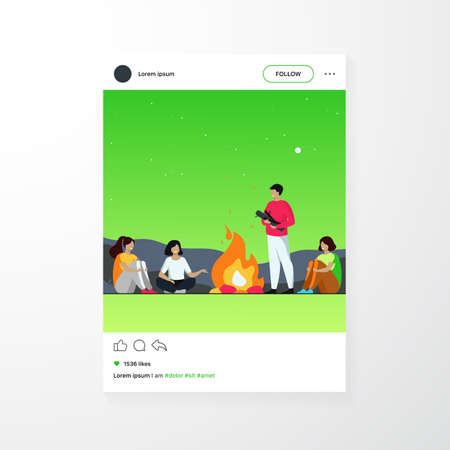 Campfire, camping, story telling concept. Cheerful people sitting at fire, telling scary stories, having fun. For summer outdoor activities or leisure time with friends topics