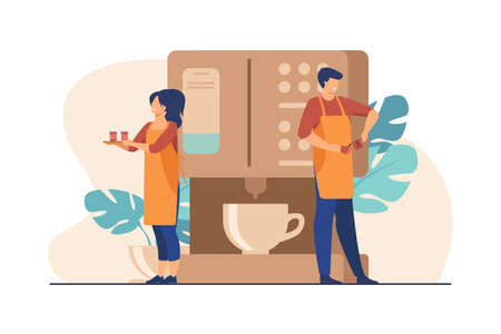 Happy tiny barista making coffee at huge machine. Waitress holding tray with paper cups flat vector illustration. Coffee break, street food, summer concept for banner, website design or landing page