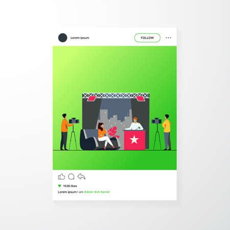 TV host interviewing celebrity person in studio. Camera crew working on talk show. Vector illustration for videographer job, broadcasting, news concept