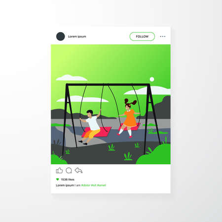 Cute girl and boy swinging and enjoying holiday isolated flat vector illustration. Cartoon happy friends playing on playground. Nature camp and weekend concept