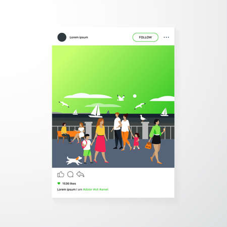 People walking on seaside quay. Tourist characters an cute couple with kids admiring boats in sea and seagulls. Flat illustration for seaside, summer vacation at ocean concept  イラスト・ベクター素材