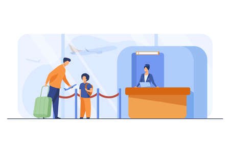Dad and son standing at counter in airport. Father giving toy plane to boy flat vector illustration. Travel, holiday, trip, flight concept for banner, website design or landing web page