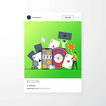 Happy tiny people gambling in online casino isolated flat vector illustration. Cartoon characters playing in roulette, poker, blackjack. Money and risk concept 矢量图像