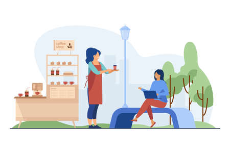 Barista carrying takeaway coffee to customer outdoors. Coffee shop stand, stall, kiosk flat vector illustration. Street food, summer concept for banner, website design or landing web page