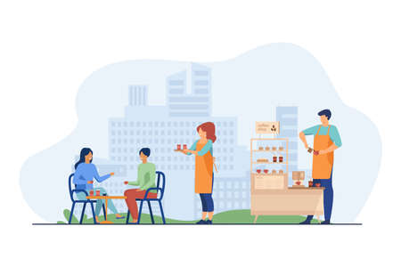 Waitress carrying takeaway coffee to customers in outdoor cafe. Coffee shop stand, stall, kiosk flat vector illustration. Street food, summer concept for banner, website design or landing web page 免版税图像 - 157931487