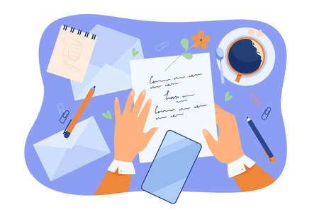 Hands of character writing letter at desk with papers, pencil, envelopes and coffee cup. Woman sending message to her future self. Vector illustration for sending mail or postcard to yourself concept