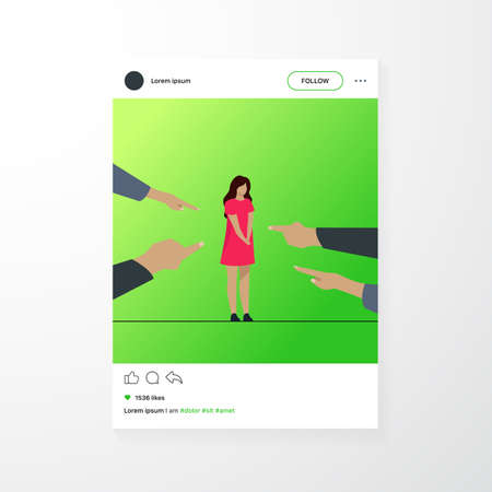 Depressed sad woman standing as victim flat vector illustration. Surrounded girl and fingers pointing at her. Conviction, indictment and social denunciation concept. Vettoriali