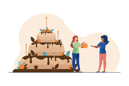 Tiny woman presenting gift box to friend. Cake, holiday, candle flat illustration. Celebration and birthday concept for banner, website design or landing web page