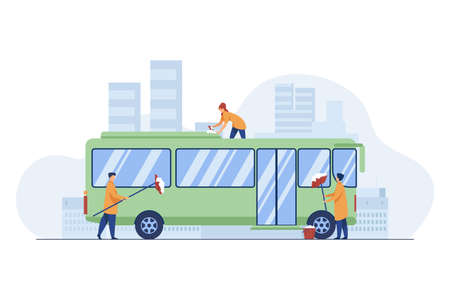 Workers cleaning and washing bus. Vehicle, detergent, work flat vector illustration. Service and public transport concept for banner, website design or landing web page
