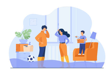 Family couple walking ankle deep in water at home, calling plumber service to fix broken pipes. Vector illustration for overflow, flooded house, emergency concept Çizim