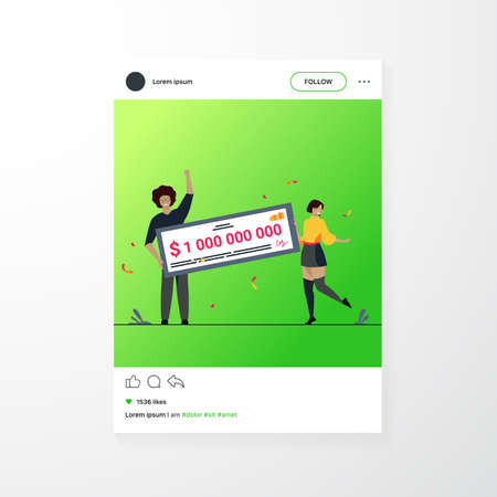 Happy girl and guy winning billion of cash, getting money prize, holding bank check. Flat vector illustration for grant, lottery winner, jackpot concept Illusztráció
