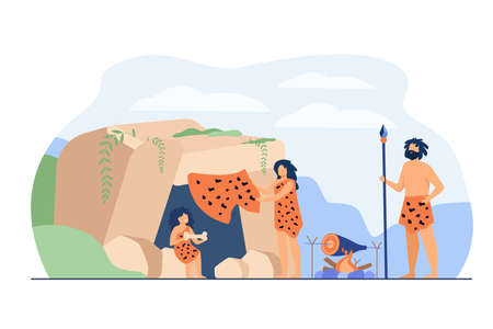 Prehistoric family couple and kid wearing leopard hides, cooking food at cave entrance. Vector illustration for ancient people stone age, caveman dinner concept 向量圖像