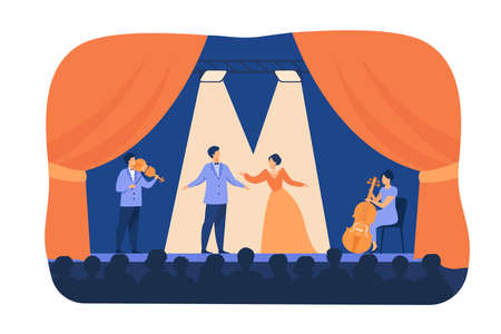 Opera singers playing on stage with musicians. Theatre performers wearing costumes, standing under spotlights and singing before audience. Flat cartoon illustration for drama, performance concept 向量圖像