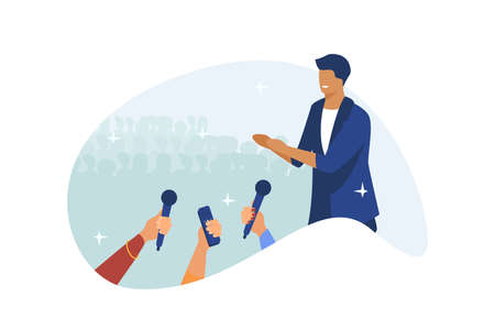 Male celebrity speaking on stage. Hands of journalists with microphones flat vector illustration. Show, performance, conference concept for banner, website design or landing web page