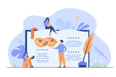 Tiny people reading and writing poetry or poem isolated flat vector illustration. Cartoon characters standing or sitting near open book, ink and feather. Entertainment and literature concept Vecteurs