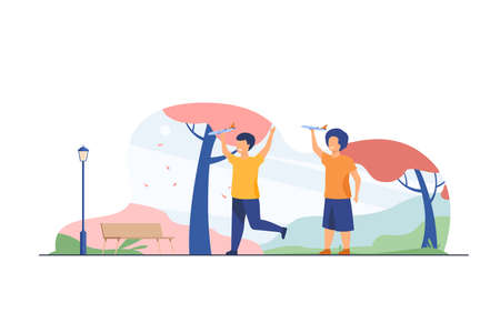 Happy kids playing with toy planes in fall park. Boys practicing aeromodelling hobby flat vector illustration. Leisure, activity, development concept for banner, website design or landing web page