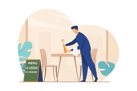 Waiter preparing cafe for opening. Restaurant worker cleaning table after customers leaving flat vector illustration. Catering, service, job concept for banner, website design or landing web page