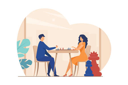 Couple playing chess. Man and woman at chessboard flat vector illustration. Leisure, hobby, intelligence, challenge concept for banner, website design or landing web page