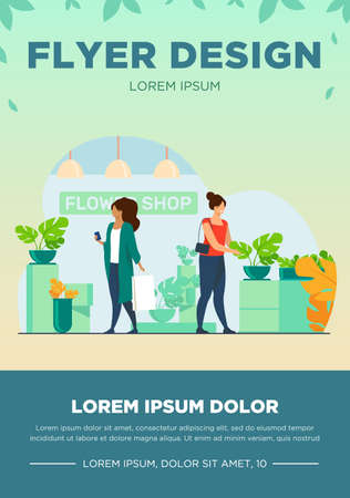 Customers in flower shop. Women with bags choosing houseplants flat vector illustration. Shopping, greenhouse, home plants concept for banner, website design or landing web page
