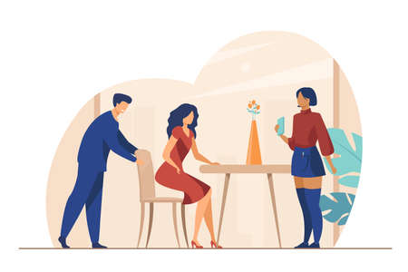 Headwaiter welcoming customer in cafe. Woman sitting down at table, waiter accepting order flat vector illustration. Restaurant, service concept for banner, website design or landing web page