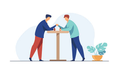 Two men competing in arm wrestling. Fighters trying strength against each other flat vector illustration. Wrestler club, rivalry, contest concept for banner, website design or landing web page 矢量图像