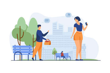 Couple making acquaintance in city park. Man returning forgotten bag to woman flat vector illustration. Acquaintance in public place, dating concept for banner, website design or landing web page