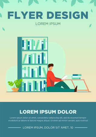 Happy man reading book in home library. Relaxation, table, shelf flat vector illustration. Hobby and entertainment concept for banner, website design or landing web page